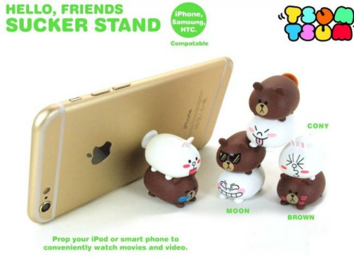 line双层布朗熊搪胶公仔手机支架 手机座摆件礼品