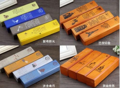 T1899 竖款原木英伦怀旧笔盒 邮寄时光复古多功能木制学习铅笔盒